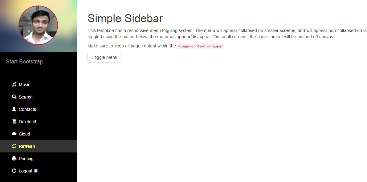 ASP.NET Sidebar Menu with Profile Image – A great looking alternative