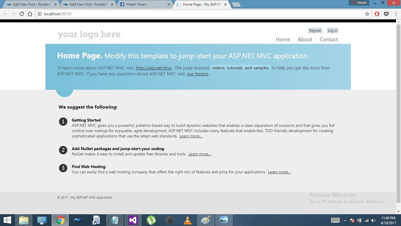 ASP.NET MVC Getting started - Browser run image