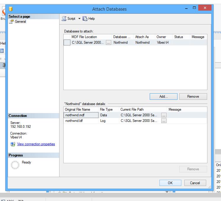 Seçili SQL Management Studio sql'de Northwind Veritabanını Kurun ve Ekleyin