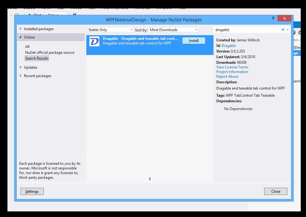 WPF Designing Material Design Tabs with Dragablz 02