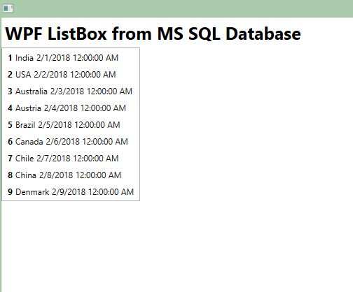 WPF Listbox Binding from MS SQL Database 02