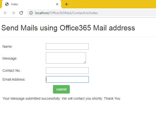 ASP.NET MVC – Send Mails using Office365 Email SMTPClient