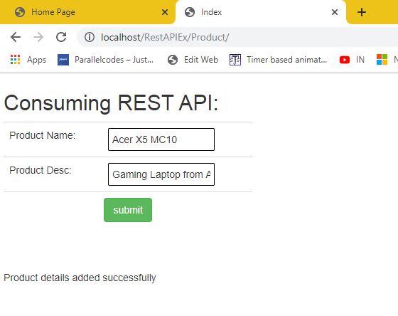Using Web service REST API in ASP.NET MVC forms 02