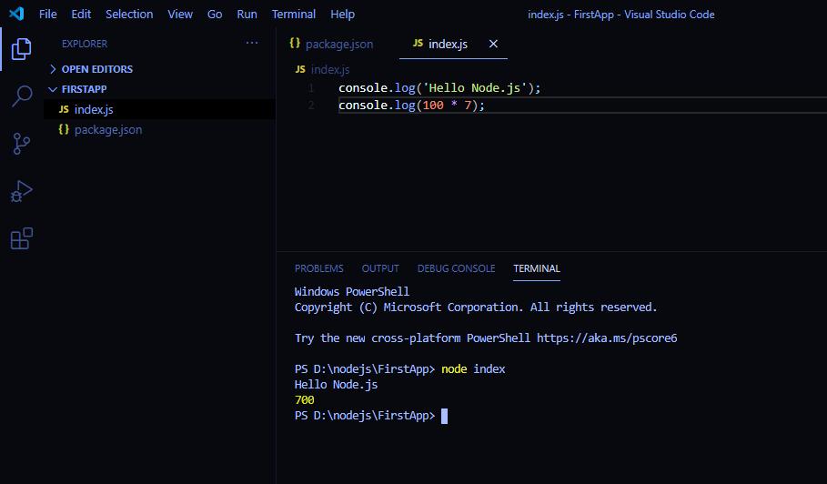 node.js first application output 002